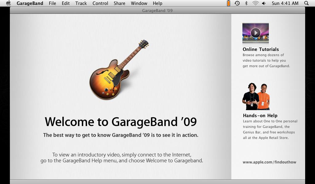 GarageBand startup crop